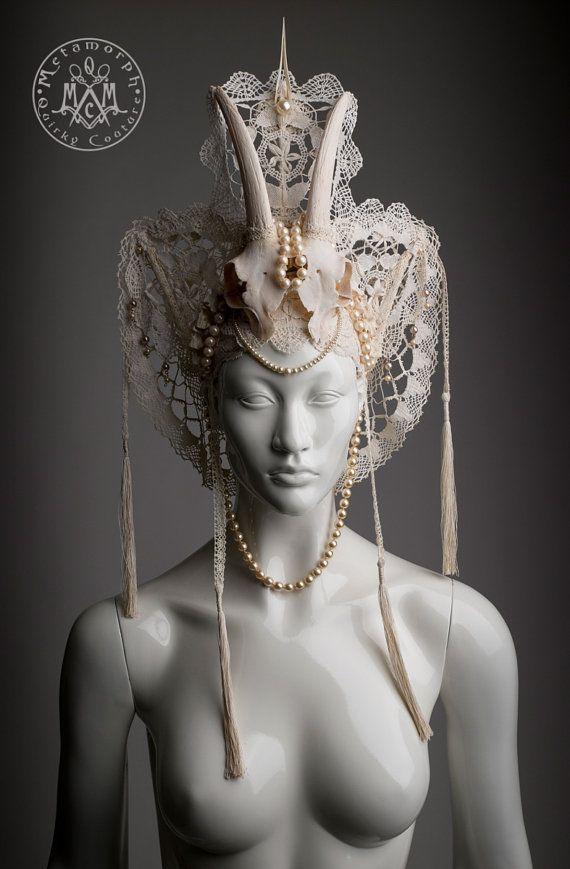 Goat skull headdress / Cream white horned headpiece by MetamorphQC