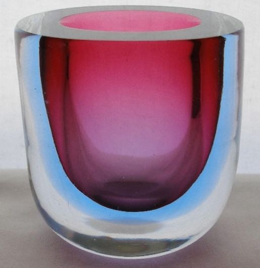 SMALL INCREDIBLY Attractive MURANO GLASS Vase SOMMERSO Rose BLUE Modern SLEEK