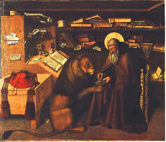 [Saint Jerome pulling a thorn from a lion's paw]All the early Protestant leaders (Luther, Calvin, Zwingli, even the Anglicans) claimed that Saint Jerome rejected the deuterocanonical books of the Bible that Catholics include..the canonical books of Tobit, Judith, Wisdom, Ecclesiasticus, Baruch, and 1&2 Maccabees (and those portions of Daniel and Esther). However, by AD 382, we see a reversal in St Jerome's sentiments.