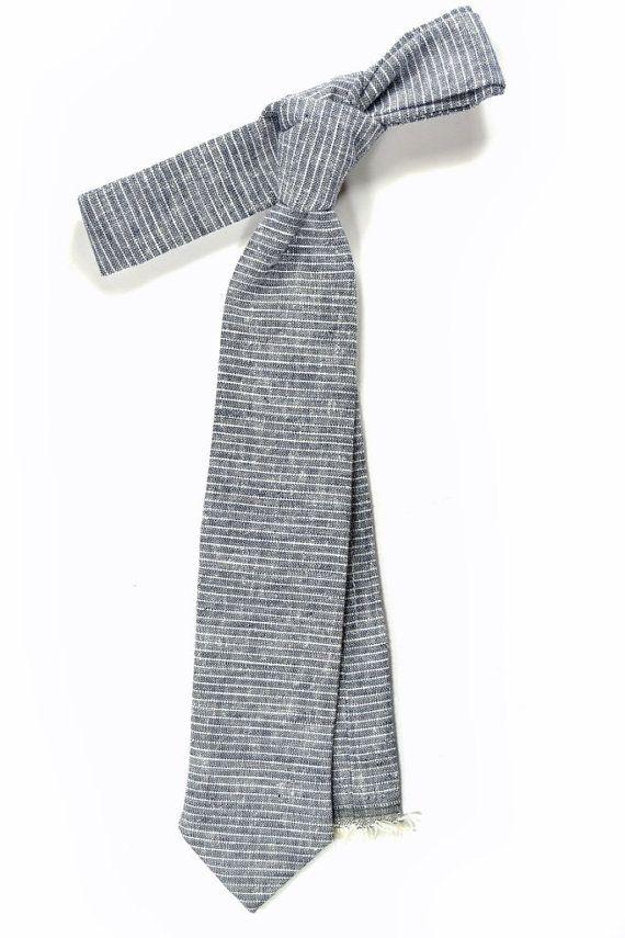 blue micro striped linen necktie - Wedding Mens Tie Skinny Necktie - Laid-Back necktie