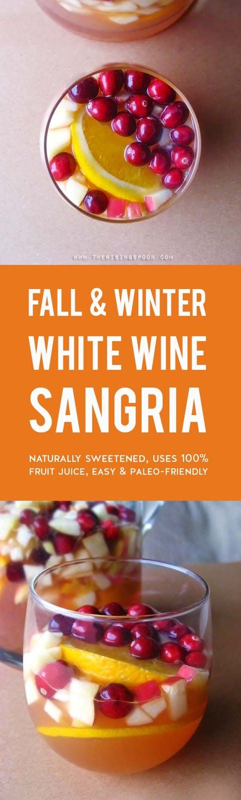 An easy white wine sangria recipe featuring gorgeous fall and winter ingredients like cranberries, apples, and oranges. This drink is refreshing, not too sweet, and even slightly healthy with the addition of 100% unsweetened cranberry juice. It's elegant enough to serve at a holiday gathering, yet simple enough for a low-key weeknight dinner. (gluten-free & paleo) #sangria #fallrecipes #thanksgivingrecipes #whitewine #holidays #fallfood #christmasrecipes #healthyeating