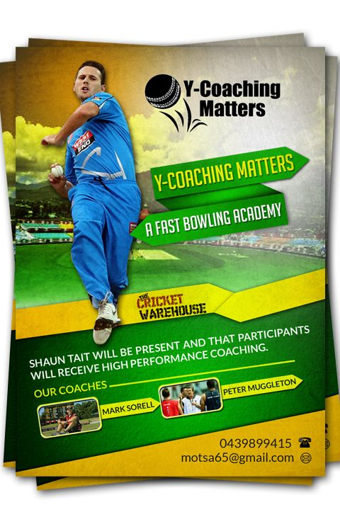 Flyer Design by hih7 for Cricket Coaching Academy #cricket #flyer #design #DesignCrowd #sport