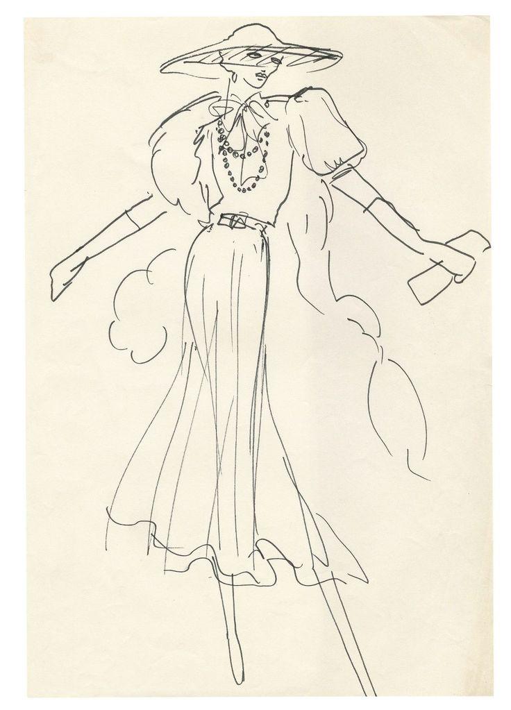Yves Saint Laurent, Sketch for Stavisky directed by Alain Resnais, 1974