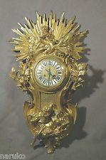 Позолоченная бронза картель часы Херувим В КОЛЕСНИЦЕ W голуби большие чистый и великолепный