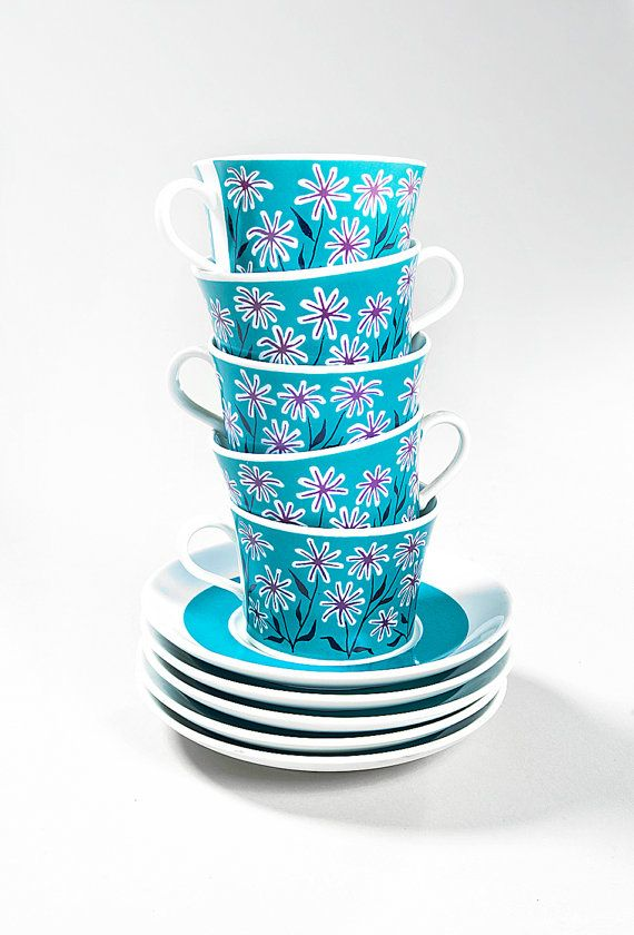 Rare Mod Palma Gron Rorstrand Sets of Cup and Saucers 1960s Vintage Blue Teal and Purple Floral Pattern on Etsy, $52.00