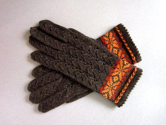 Gloves Hand Knit Brown Gloves for women Folk by AnitasHandmade