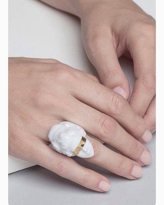 "porcelain jewelry, white porcelain ring ""PORNO RING"", gold stripe, ceramic, porcelain, ring, gold, feminist ring, face, doll, doll face ring"
