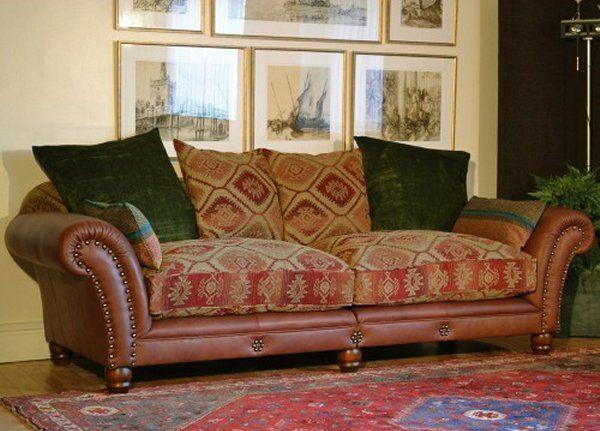 sofa mixed fabrics solid and prints | Tetrad Eastwood Sofa - Beautiful mixed leather and fabric sofa