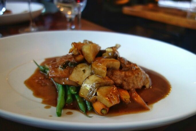Veal Scallopine - porcini, marsala, carrots and green beans at La Buca. The peppery veal was nice, green beans on the raw side, and again it was a very literal and rustic translation of the dish. #chefstasting #veal #ItalianFood #ArbutusRidge #Vancouver #LaBuca #FMFLaBuca