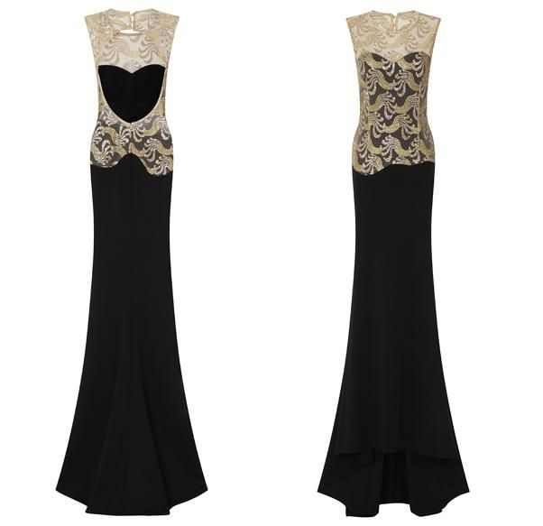 BG10045. New in store in size 6-16. So elegant and very trending. Fit and flare cut in black soft jersey-knit with open back detail. Sweetheart neckline over-layed with gold mesh lace. We keep a register of balls and events and will not sell duplicates.See more options onhttp://bridalandball.co.nz/formal-gowns/ball-gowns/. Follow us oninstagram.com/bridal_and_ball/. Visit us in store in Albany village