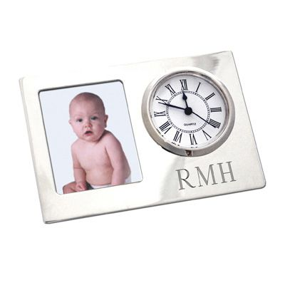 Silver Tone Engraved Picture Frame Clock $40