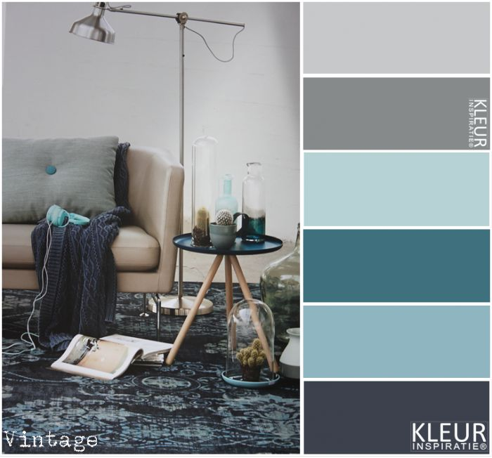 Kleurinspiratie ~ Vintage. Kleurpalet: Petrol, blauw en grijstinten. Vloerkleed van Bonaparte