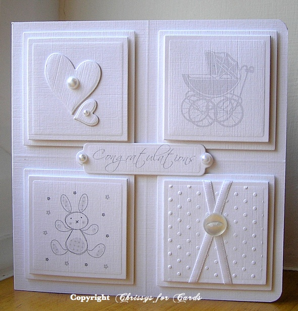 delightful baby card ... white on white ... four layered squares ... luv the two hearts, one big with a small one on its side ...