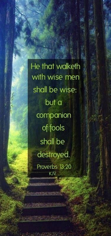 Proverbs 13:20 KJV https://www.facebook.com/KingJamesBiblePreservationAndPromotion/photos_stream