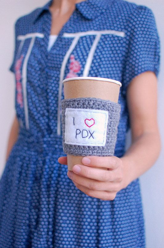 I HEART PDX coffee cup cozy by The Cozy Project by thecozyproject, $17.00