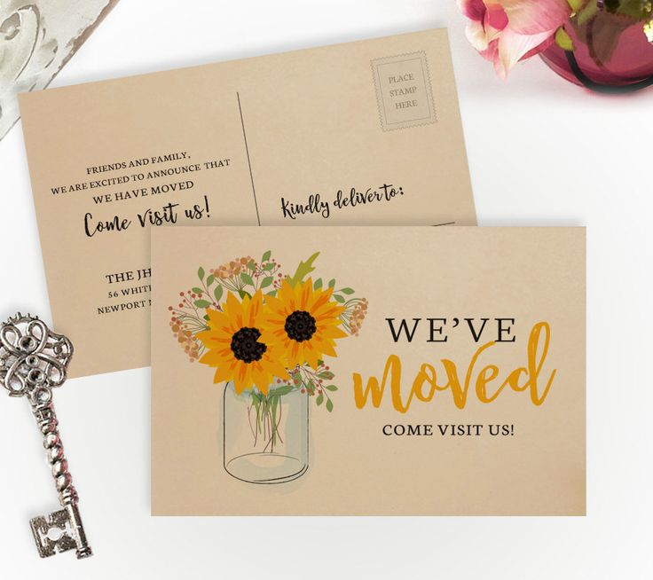 Sunflower moving announcements printed on kraft paper | 4X6 we have moved cards | Change of address postcards | Rustic moving cards by lovebirdspaperie on Etsy