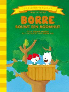 'Borre bouwt een boomhut' - Borre gaat samen met Radijs een hut bouwen in de perenboom. Borre heeft al een tekening gemaakt van hoe de hut eruit moet gaan zien. De vader van Radijs helpt mee met bouwen. Als de boomhut af is, hebben ze een prachtig uitzicht, maar het is wel een beetje erg hoog. Zo hoog zelfs dat Borre niet meer naar beneden durft! (tekst: Jeroen Aalbers, illustraties: Stefan Tijs)