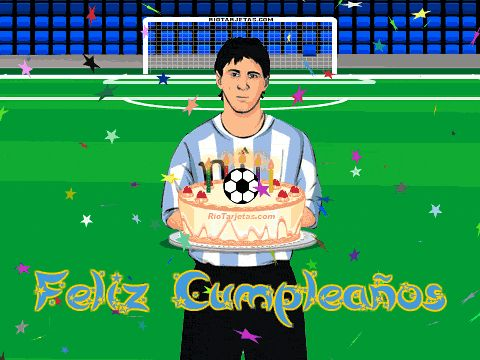 Tarjeta de Feliz Cumpleaños con Messi. http://www.riotarjetas.com/futbol_mundial.html