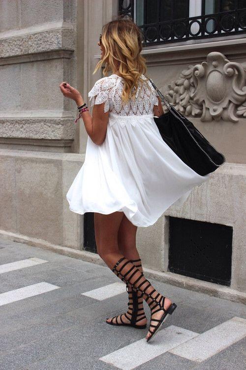 LWD, gladiator sandals, Stella McCartney bag.