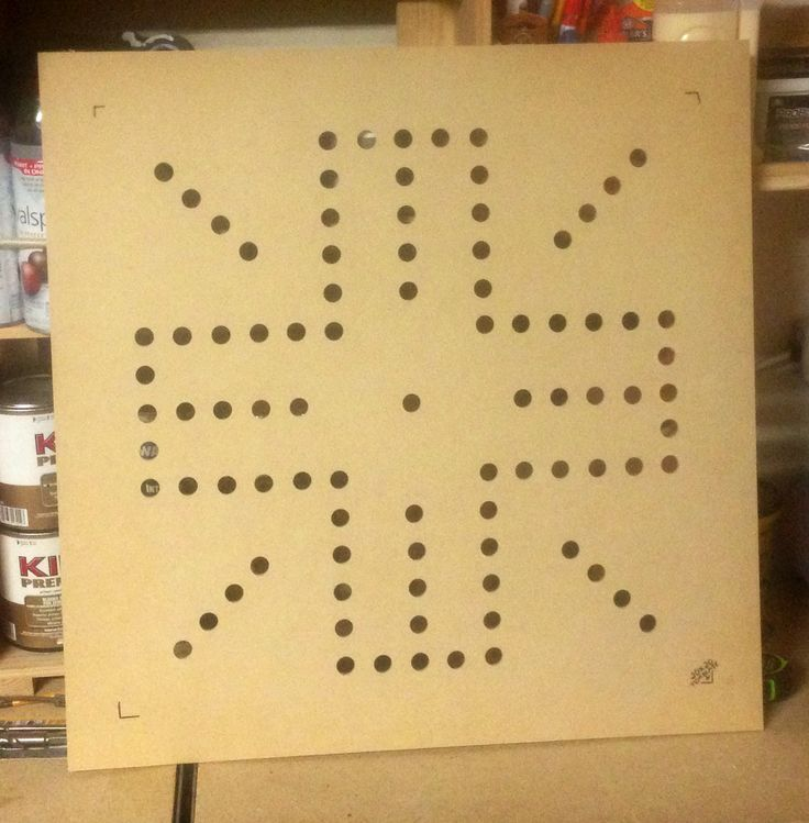 "Router template for a 24""x24"" wahoo board. 1/4"" MDF"