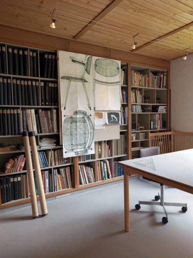 The studio room of Borge Mogensen, mid 20th century Danish furniture designer.