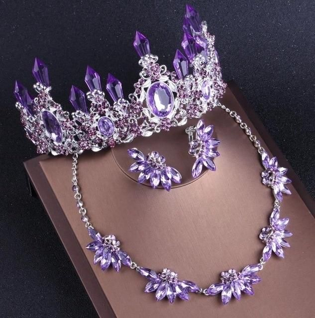 Noble Purple Crystal Bridal Jewelry Sets Necklaces Earrings Crown Tiaras Set African Beads Jewelry Set Wedding Dress Accessories - 2Pcs White Set