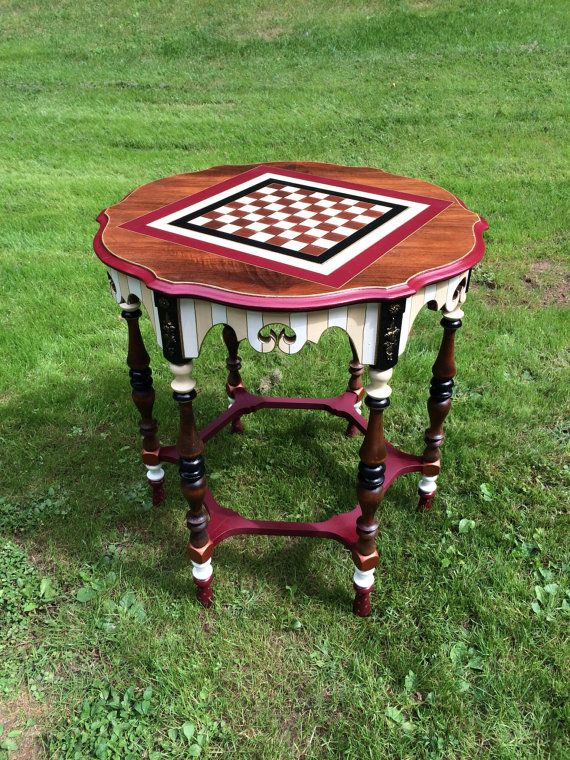 Custom painted game table checkers chess by paintingbymichele