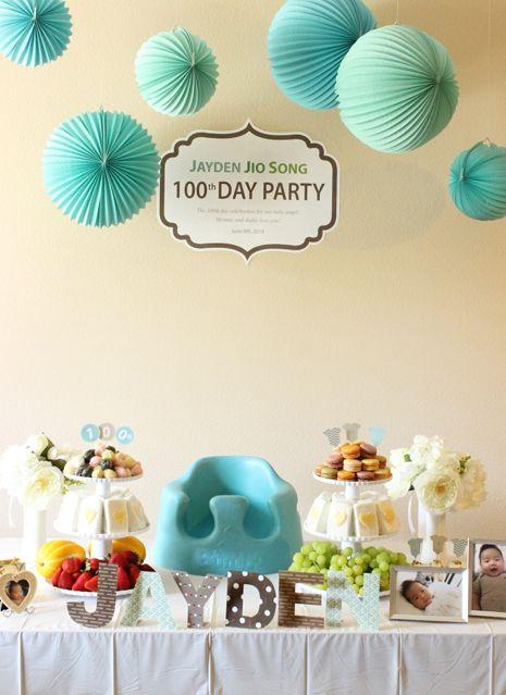 Blue 100th Day Party Deco / Korean Baek-il