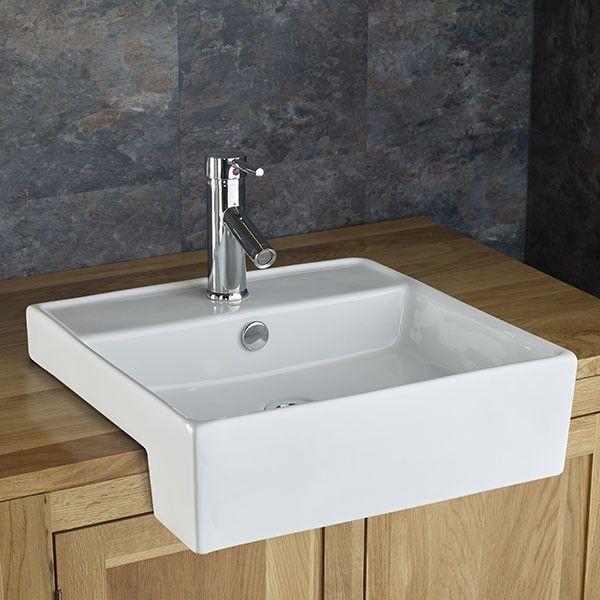 Amora 46.5cm x 46cm Semi Recessed Square Inset Countertop Washbasin