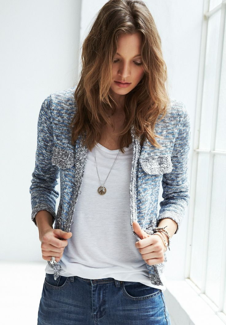 Sophisticated jacket with understated tee. Like this jacket for work. Grey might be perfect