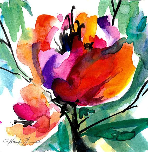 381 best watercolors flowers plants and trees images on for Modern flower paintings