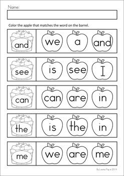 MEGA Math & Literacy Worksheets & Activities - Down on the Farm. 100 Pages in total!! A page from the unit: Sight word match