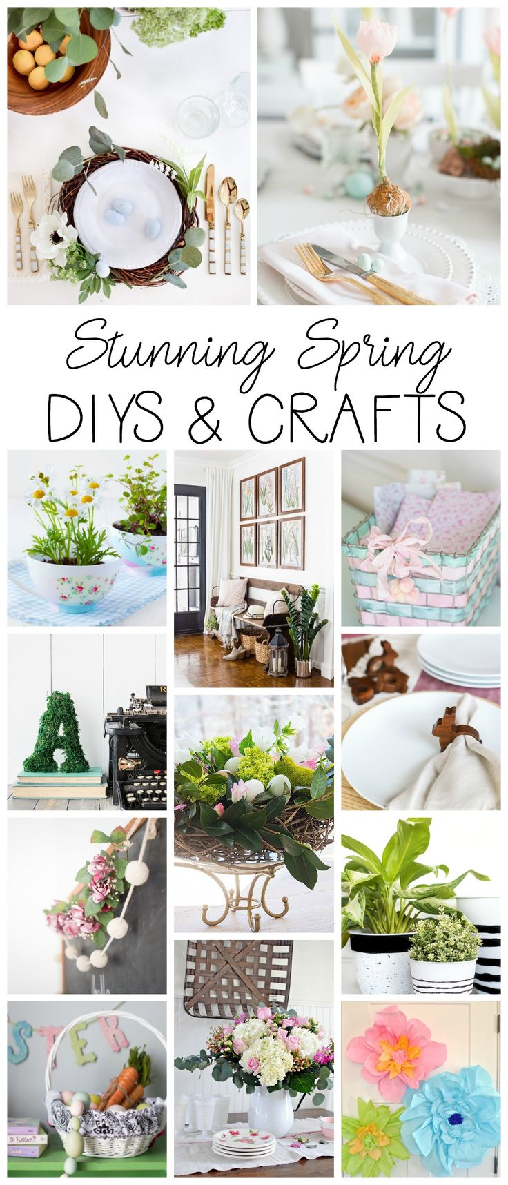 Easy to make and beautiful spring crafts from your favorite design bloggers. See more on the blog at shabbyfufu.com #spring #crafts #diy #homedecor