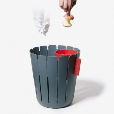 A paper wastebasket with a small bucket for other trash