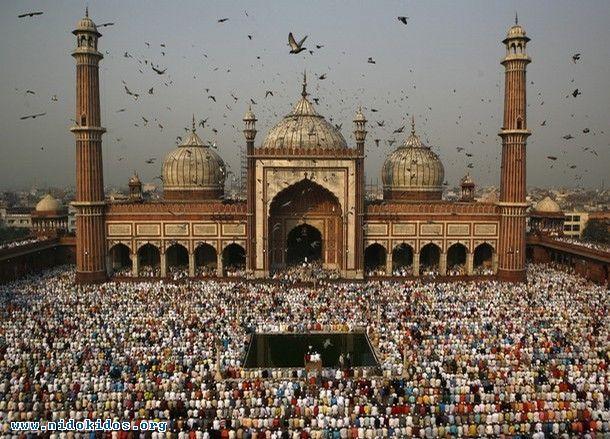 Indian Muslims pray at the Jama Masjid in New Delhi, India.