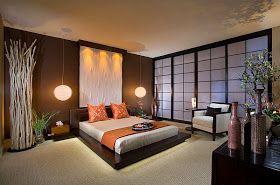 Dormitorio con estilo e inspiración asiática.