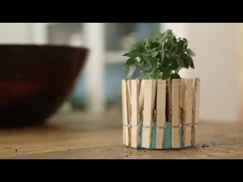 Everyone knows a tuna can and clothespins make for a perfect planter. Oh, you didn't? Discover this magical method with a crafty garden tip from #eHowHacks. Produced By: Demand Media Video