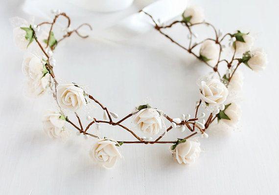 Vanilla Cream Rose Crown Flower Girl Wreath Fairy by HandyCraftTS