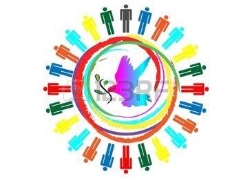 paz mundial: paloma con rama de olivo colorido relación comercial planeta Vectores