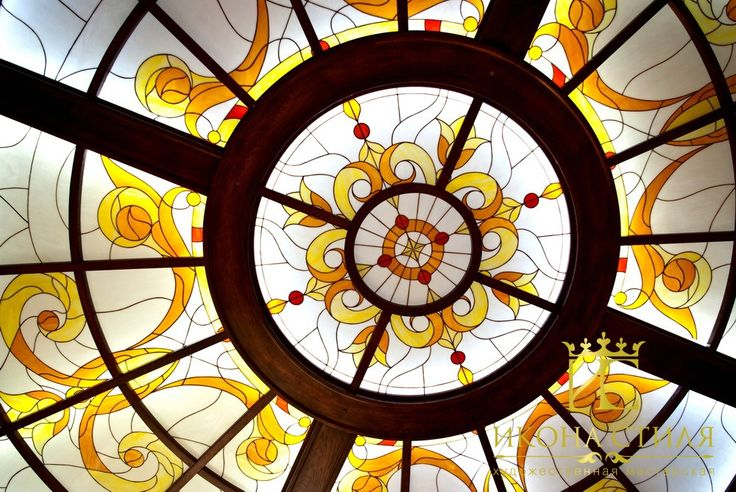 Ornamental Tiffany stained glass ceiling in the kitchen. #stainedglass #interior #design #decor #tiffany #kitchen #ceiling