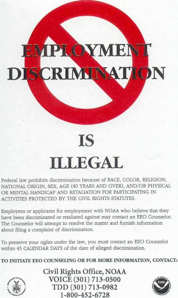 civil rights and employment discrimination For information on whether a specific employment discrimination law applies to you, or if you believe you have been the victim of discrimination, call the civil rights bureau at (212) 416-8250.
