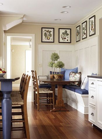 Kitchen table ideas: Dining Rooms, Beads Boards, Kitchens Bench, Breakfast Nooks, Built In, Botanical Prints, Kitchens Tables, Kitchens Nooks, Dining Nooks