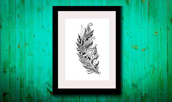 Wall Art, Drawing, Illustration, Zentangle Inspired, Patterns, Art, Print, Home Decor, Modern, Creative, Gift Idea, Feather, Boho, Gypsy