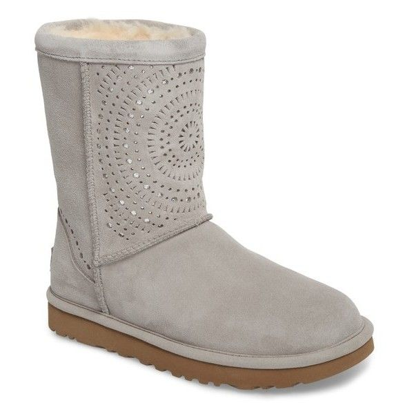 Women's Ugg Classic Short Sunshine Perforated Boot ($180) ❤ liked on Polyvore featuring shoes, boots, ankle booties, seal suede, sparkly booties, metallic booties, short boots, suede ankle booties and suede booties
