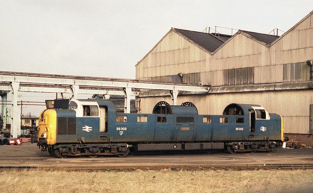 """55003 (D9003) """"MELD"""" was taken out of service on the last day of 1980 and dispatched to Doncaster Works for scrapping on the same day - it is seen here at the rear of Doncaster Works on Saturday 21st February 1981 awaiting the cutters torch after the removal of all re-useable components. (Paul Bettany)"""