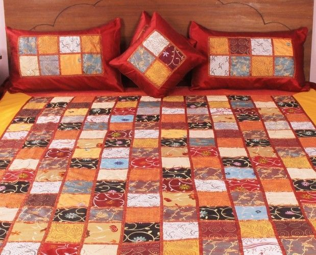 Silk made Bed Cover Traditional Indian Brocade Bed sheet 5 Pc Ethnic  #Handmade #Country