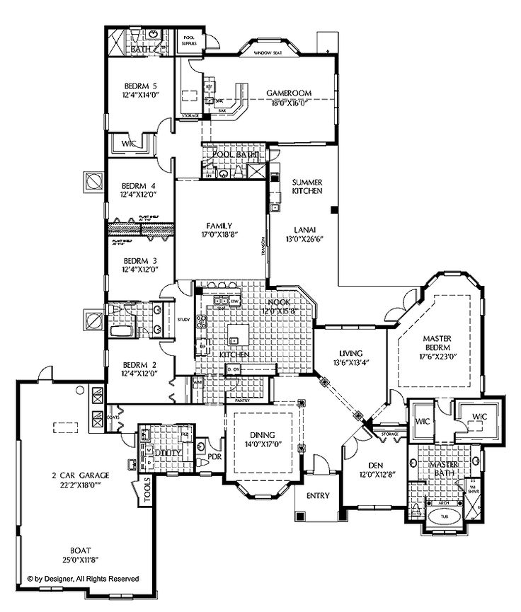Floor plans aflfpw02368 1 story mediterranean home with for House plans 5 bedrooms 1 story