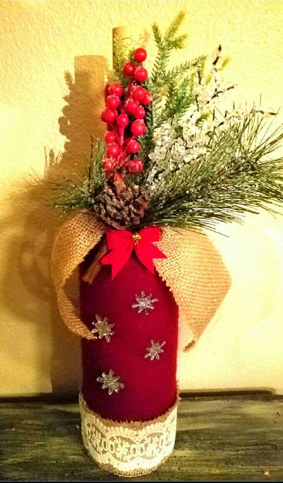 Christmas Wine Bottle Decoration by Dirty30CraftyCorner on Etsy