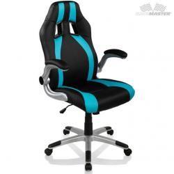 Kancelářská židle GT-Racer Stripes - černá/světle modrá