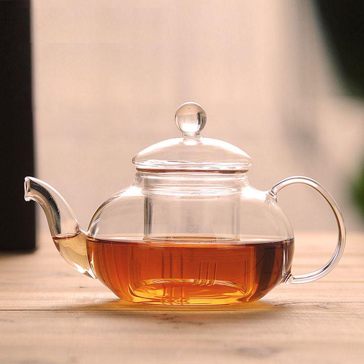 Heat-resistant glass teapot tea filter